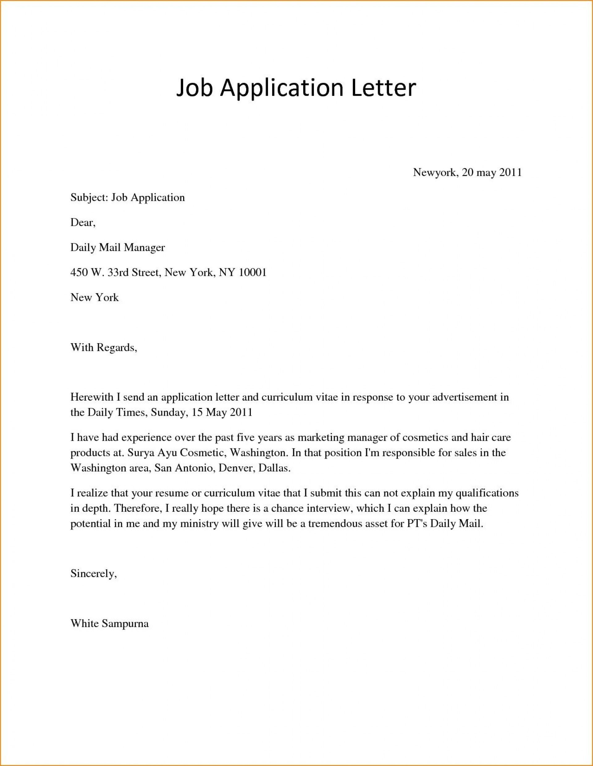 25+ Simple Cover Letter For Job Application . Simple Cover Letter
