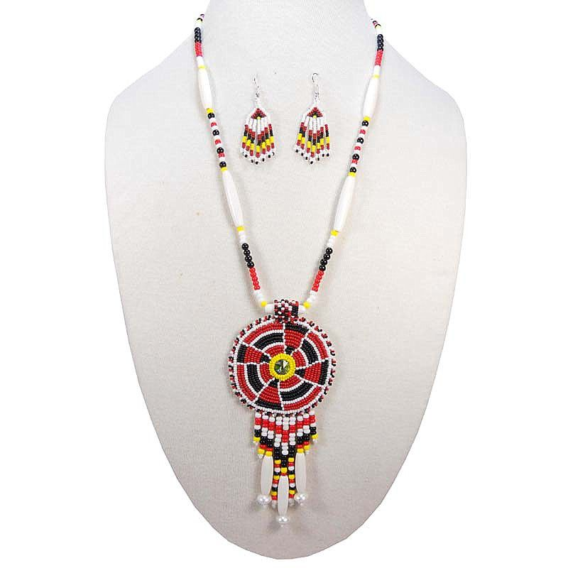 Red White Black Yellow Seed Beads Mondrian Beaded Necklace ...