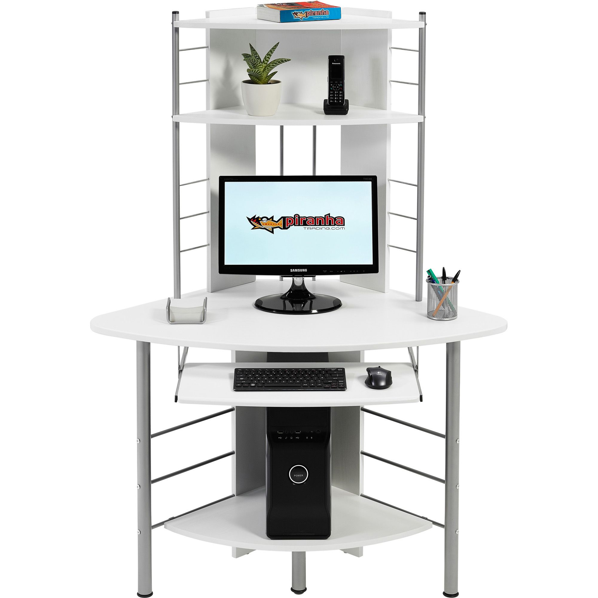 piranha quality compact corner computer desk with shelves for home