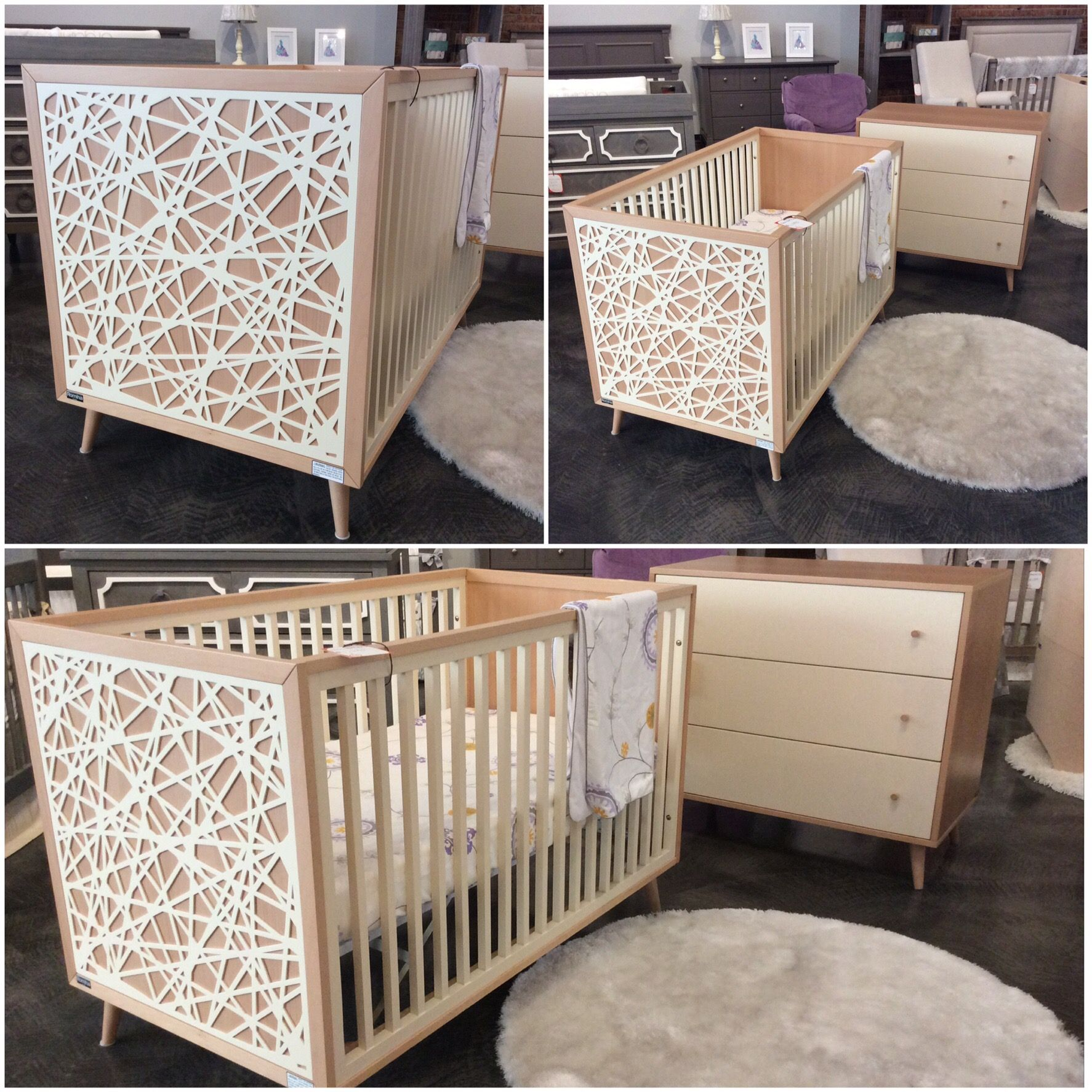 Modern Crib And Dresser Using 100 Solid Wood Construction Non