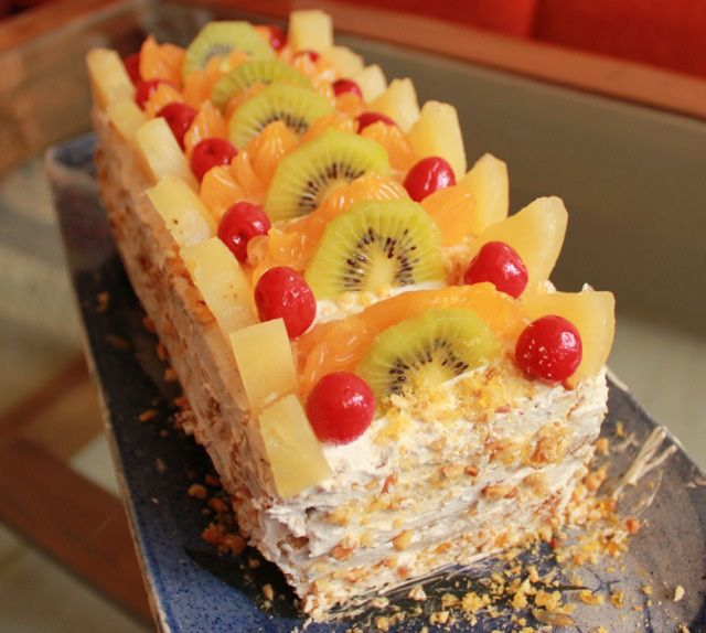 Eggless Fresh Fruit Nougat Cake and Its our 100th post