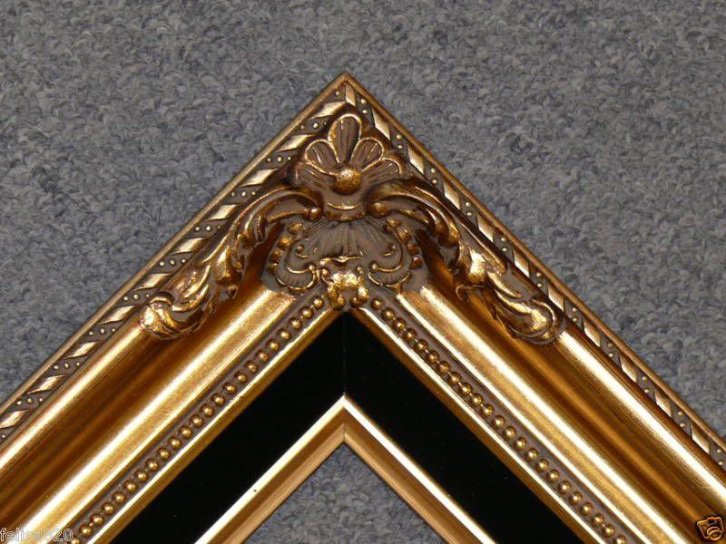 Gold Leaf Wood Antique Picture Frame Black Liner B5Gb | Marcos