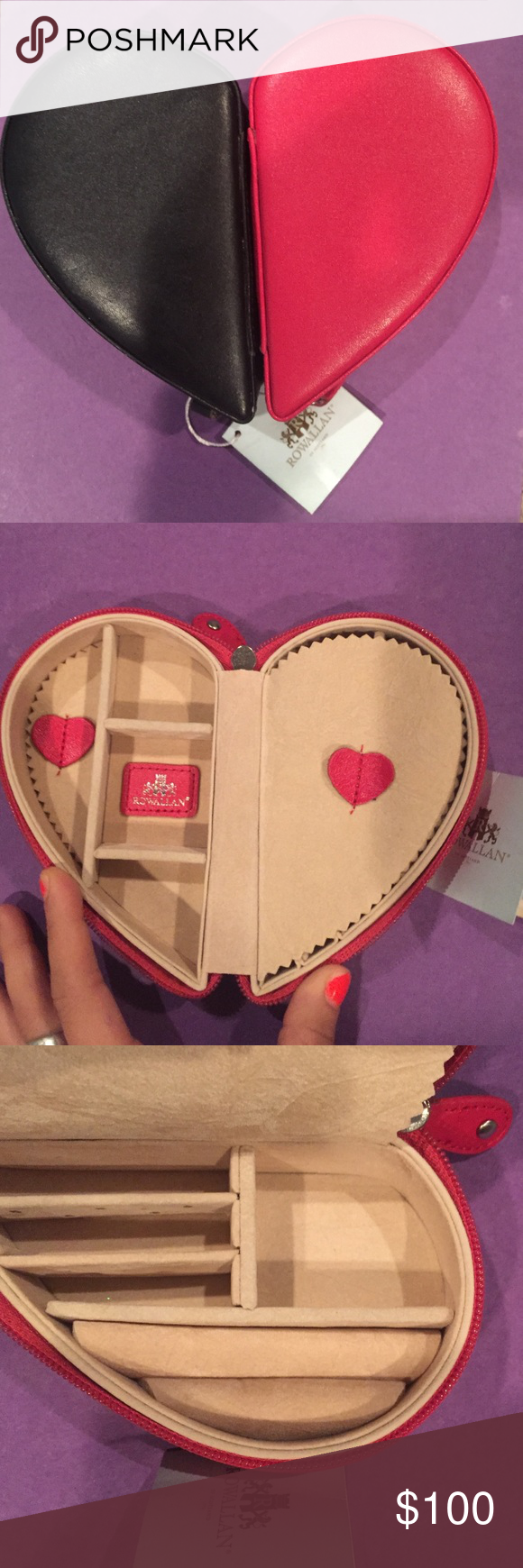 Rowallan Dual Leather Heart Shaped Jewelry Cases *NWT*! Rowallan of Scotland Genuine Leather Dual zipper-shut, Heart Shaped Jewelry holders. Great for travel or home storage of precious jewelry. Two halves of the heart magnetize together in the middle ❤️.  Red half on one side has 4 compartments as well as a jewelry polish rag while the other half has 2 long ring placers, and 4 other compartments. Black side of heart is similar but has a 2-stretch band on one side to keep a broach or watch…