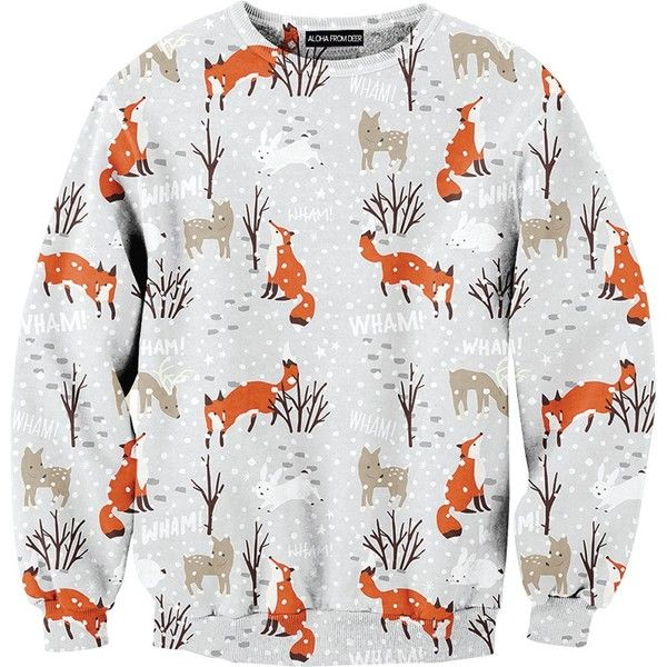 Aloha From Deer What Does The Fox Say Sweater Fox Sweater Sweaters Scoop Neck Sweaters