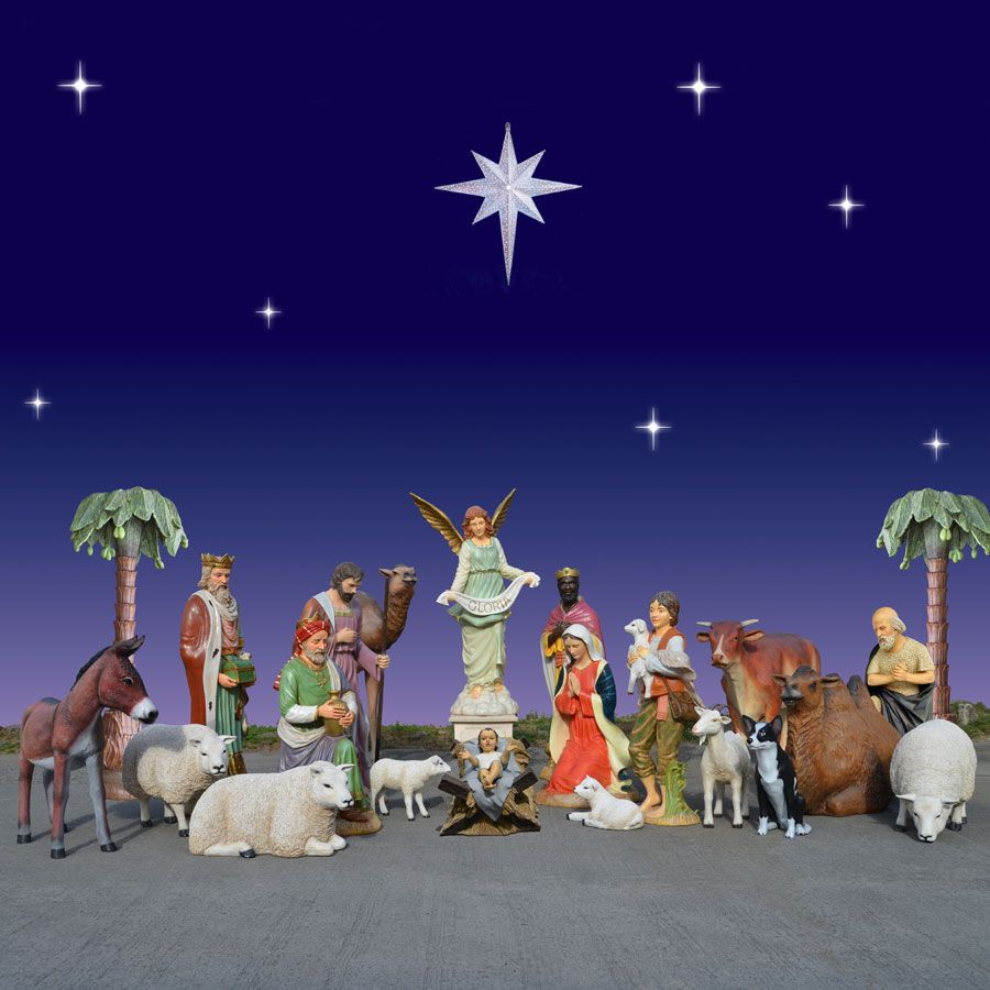 huge outdoor nativity and animal scene 20 pc 6 ft scale