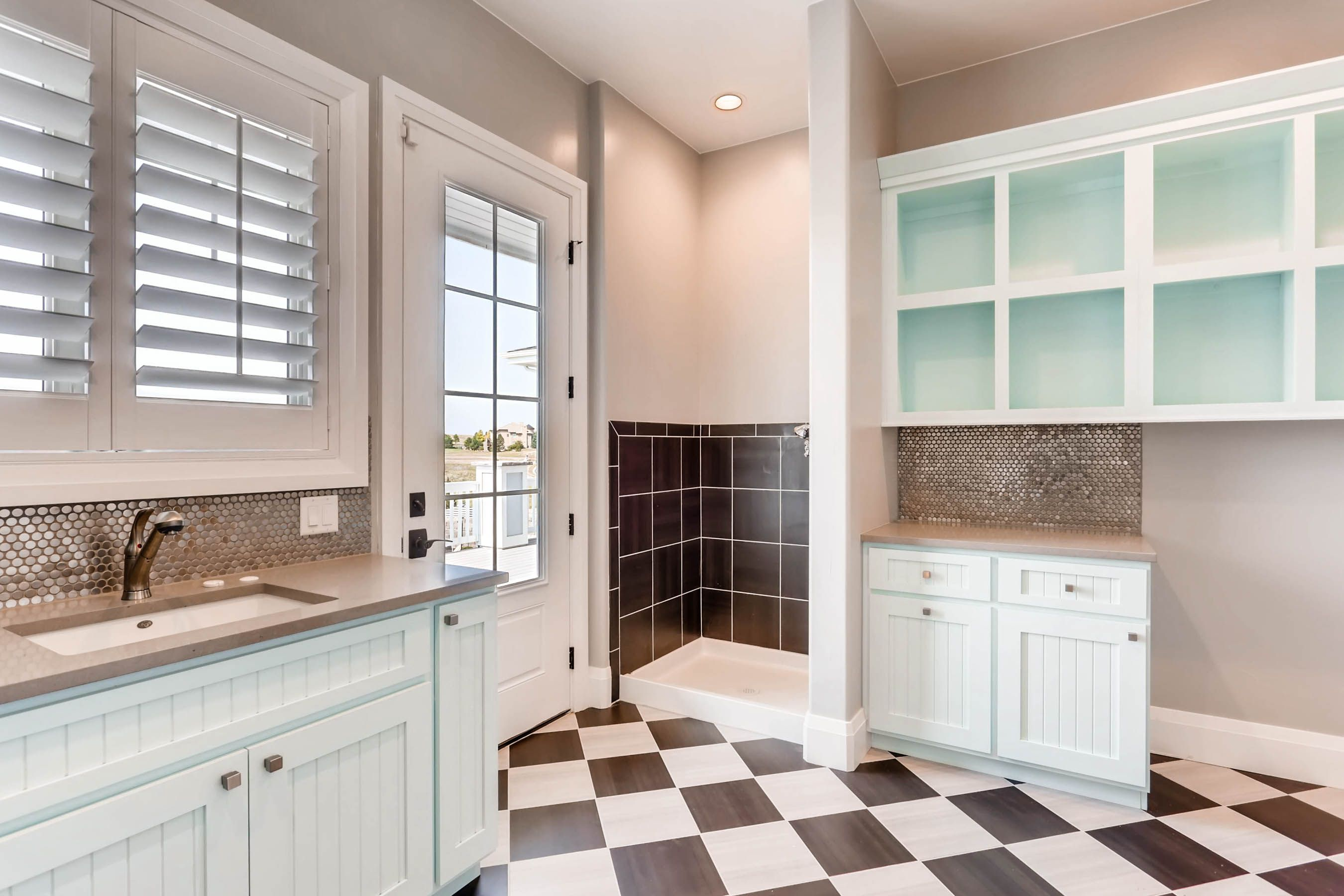 Mudroom Complete With Shower Sink And Cubbies Residential Architect White Siding Home Builders