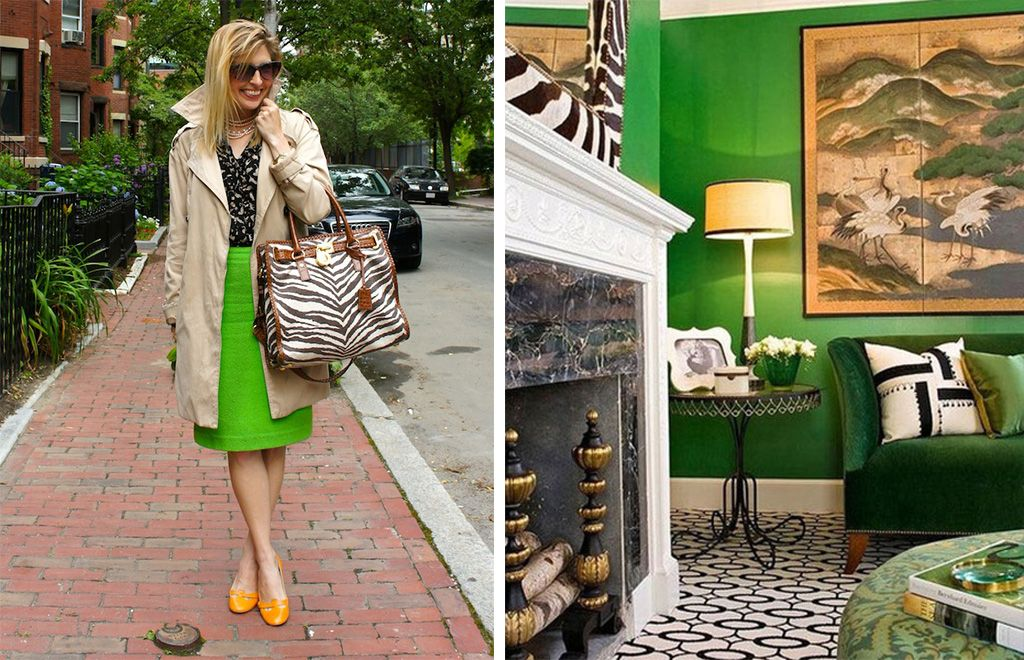 Outfits and Interiors from Pop and Circumstance - kelly green and zebra