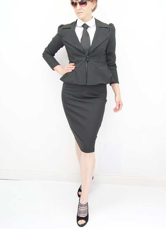 Women tailored suit, two piece women outfit, peplum jacket, pencil ...