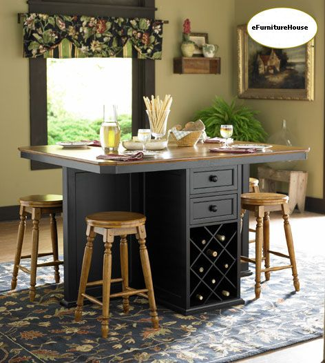 work table kitchen island with seating | ... Oak & Black Counter ...