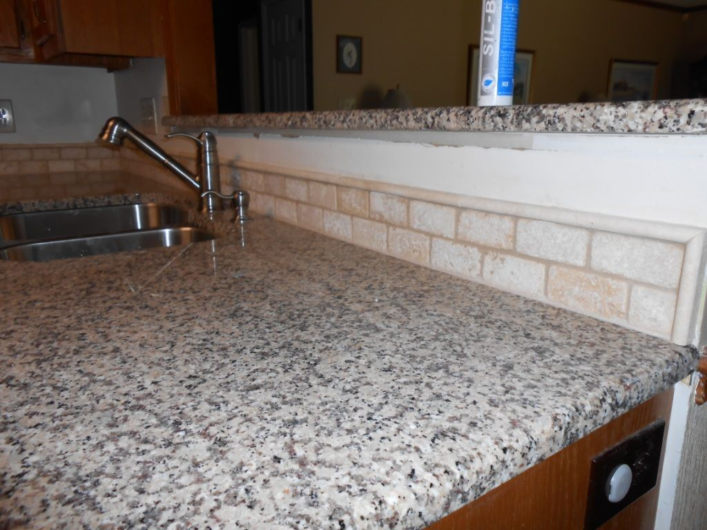 CREME CARAMEL Granite 60/40 sink Half Bull-nose edge 2x4 Light ...