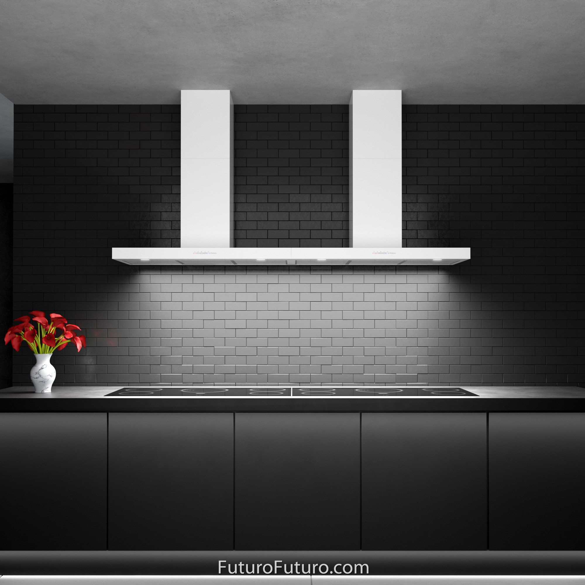 36 Minimal White Wall Mount Range Hood By Futuro Futuro In 2020 White Walls Ductless Range Hood Kitchen Fan