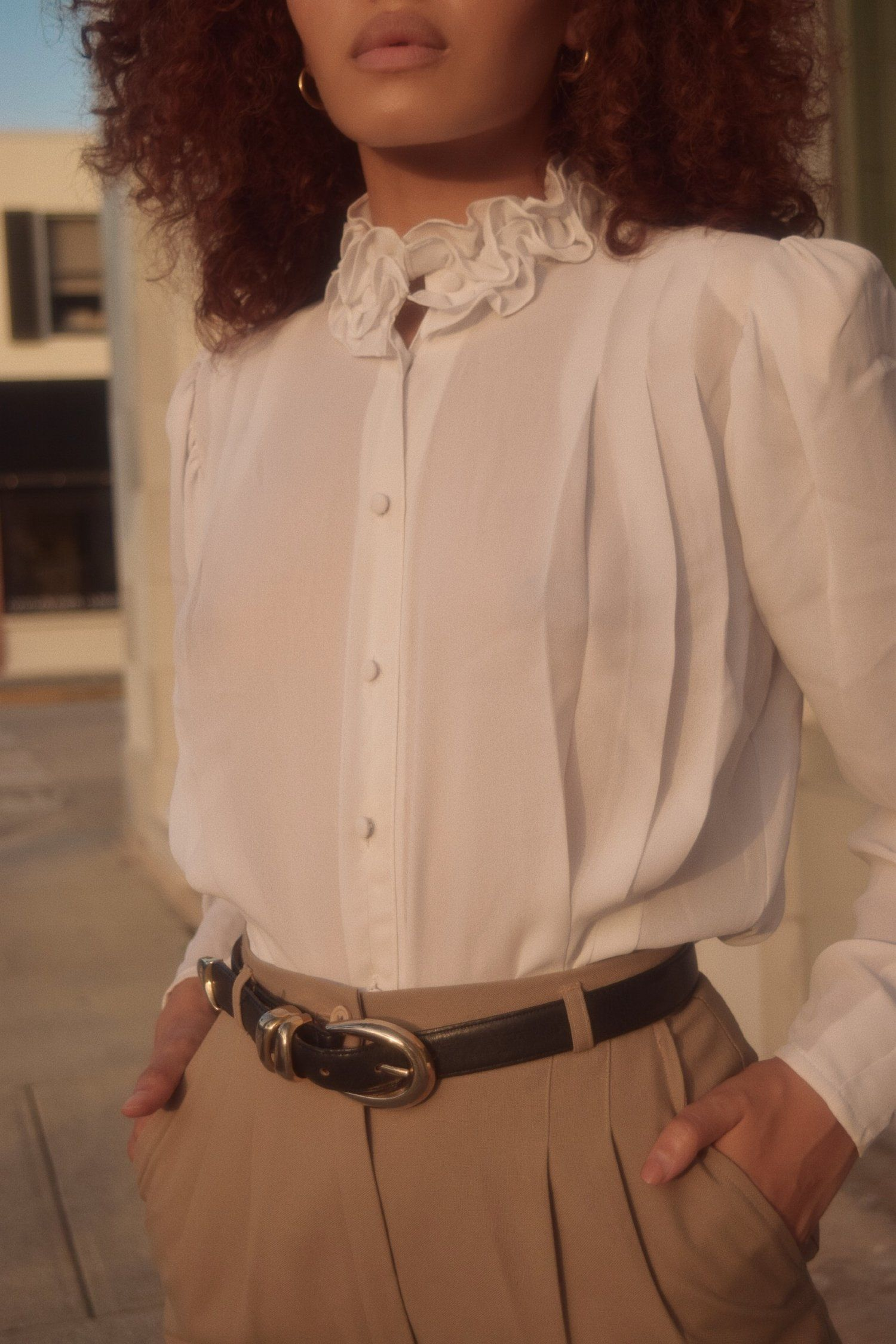 Vintage Sheer Ivory Pleated High-Neck
