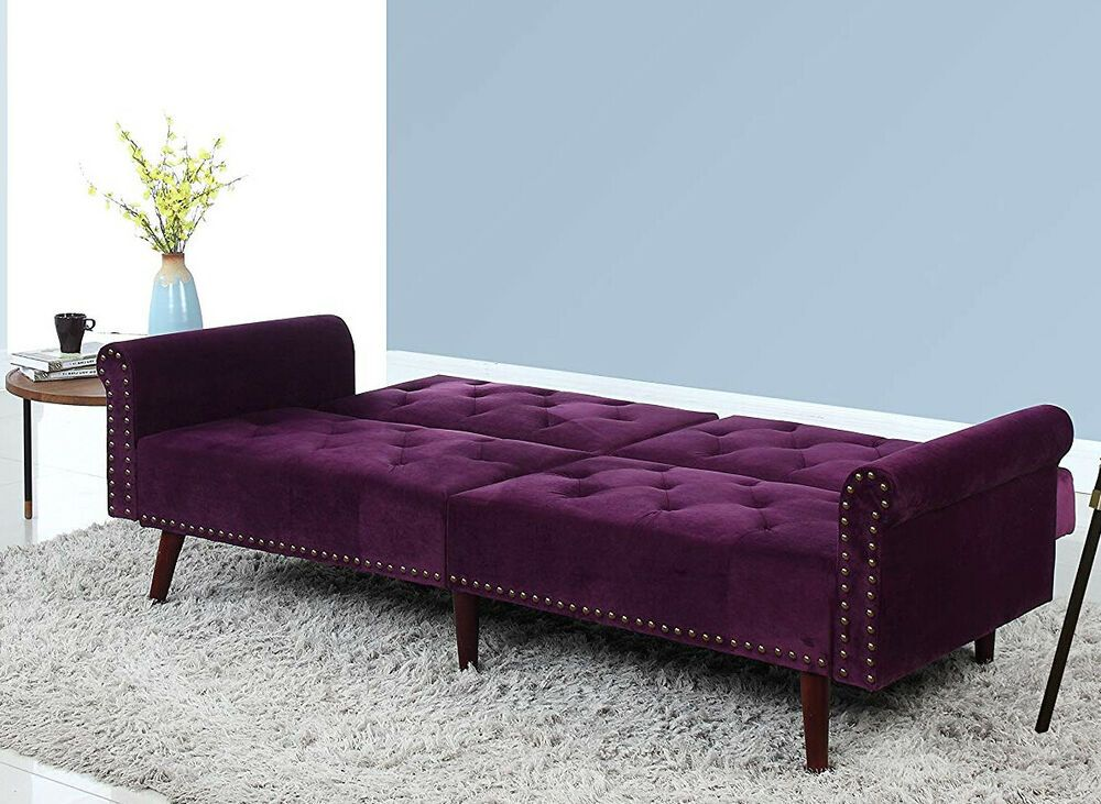 Sofa Bed Convertible Sleeper Couch Purple Velvet Tufted Nailhead Trim Long Futon Sofafurniture Victorianstyl Convertible Sofa Bed Couch And Loveseat Sofa Bed