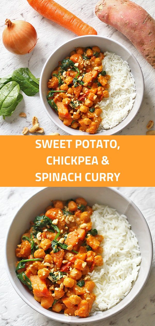 Sweet Potato Chickpea And Spinach Curry
