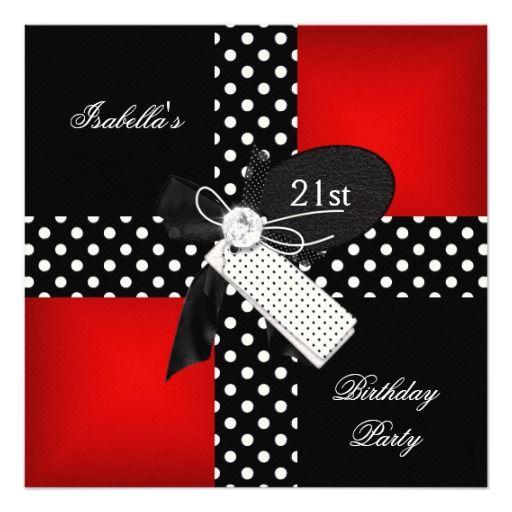 21st Birthday Party Red Polka Dot Black White Personalized Invite