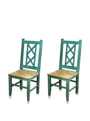 Horizon Bombay Tables | Reclaimed Wood Furniture Set Of 2 Bombay Dining  Chair (Turquoise)