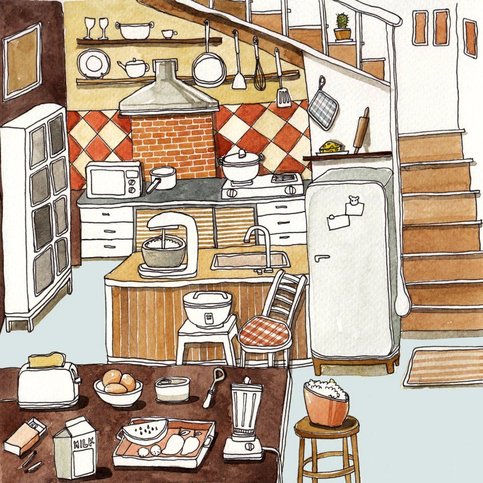 Cute Puffy Cartoon Kitchen Illustration By SUNTUR