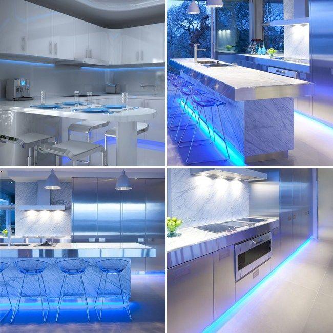 Home Blue Cabinet Kitchen Lighting Plasma Tv Led Strip Sets Cabinet Led Lighting Kit Complete Led Light Strip Kit Kitchen Home Blue Under Cabinet Kitchen Ligh Kitchen Design Black Kitchens Home
