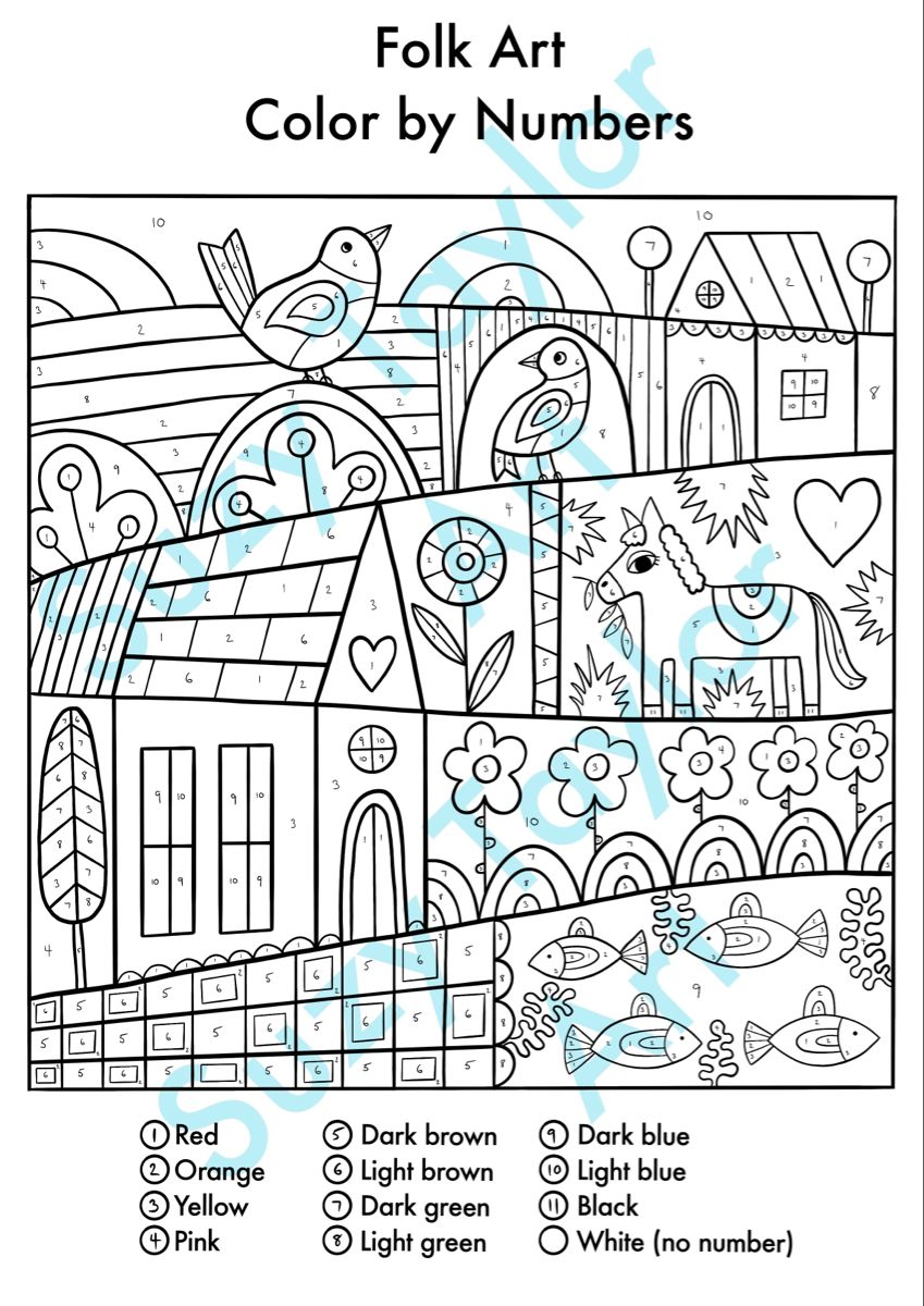 Color By Numbers Printable Etsy Free Coloring Pages Color By Numbers Coloring Pages