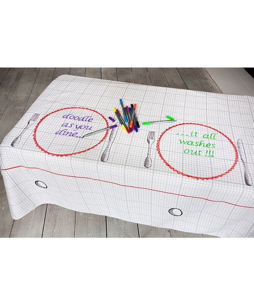 Now, here's an easy way to get your little'uns to the dinner table! This unique and curiously creative tablecloth comes with its own wash-out pens and full permission to draw all over it.It can be customised endlessly as all pen colour washes out with a simple wash - making mealtimes all the more fun, from brunch to refined celebratory dinners. Write a menu, pass on birthday wishes and messages,...