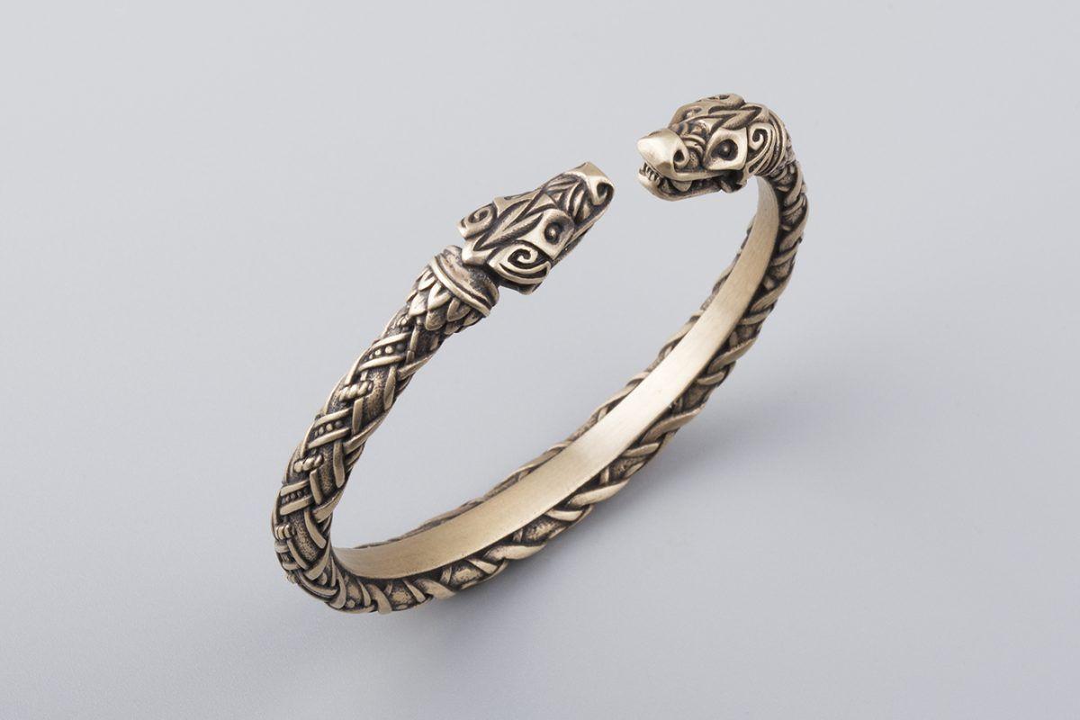 Viking Bracelet Golden Hati And Skoll Heads Viking Jewelry