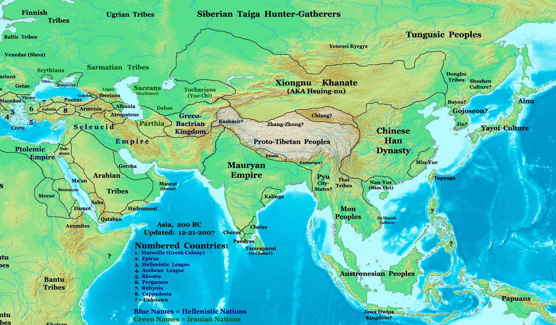 Map Of 200 Bce Note Asia And The Early Xiongnu State And