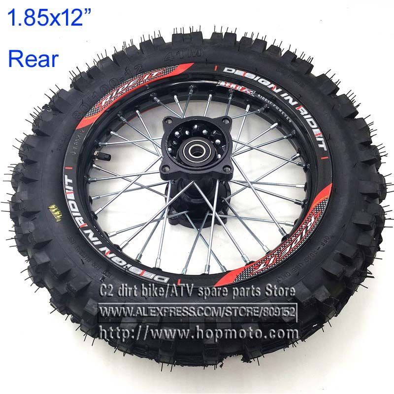 80 100 12 Guangli Tyres 1 85 X 12inch Rear Rims Wheel Steel Hub Black Wheels 32 Spoke 15mm Axle Hole Dirt Pit Bike Kayo Apollo Black Wheels Pit Bike Wheel