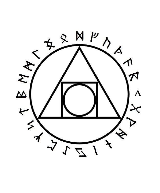 Mental Alchemy Symbol With The Rune Alphabet Around It Tattoo