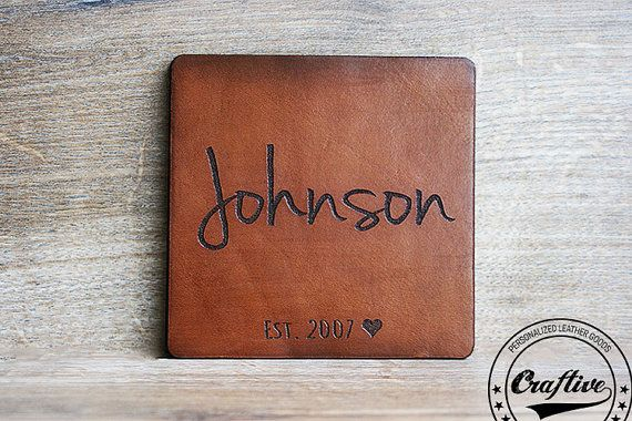 Leather Wedding Anniversary Gifts For Her: Leather Anniversary Gift For Him, Coasters, Leather