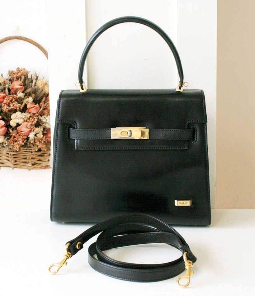 Bally Bag classic authentic black tote kelly handbag with strap ... ebb648da99aef