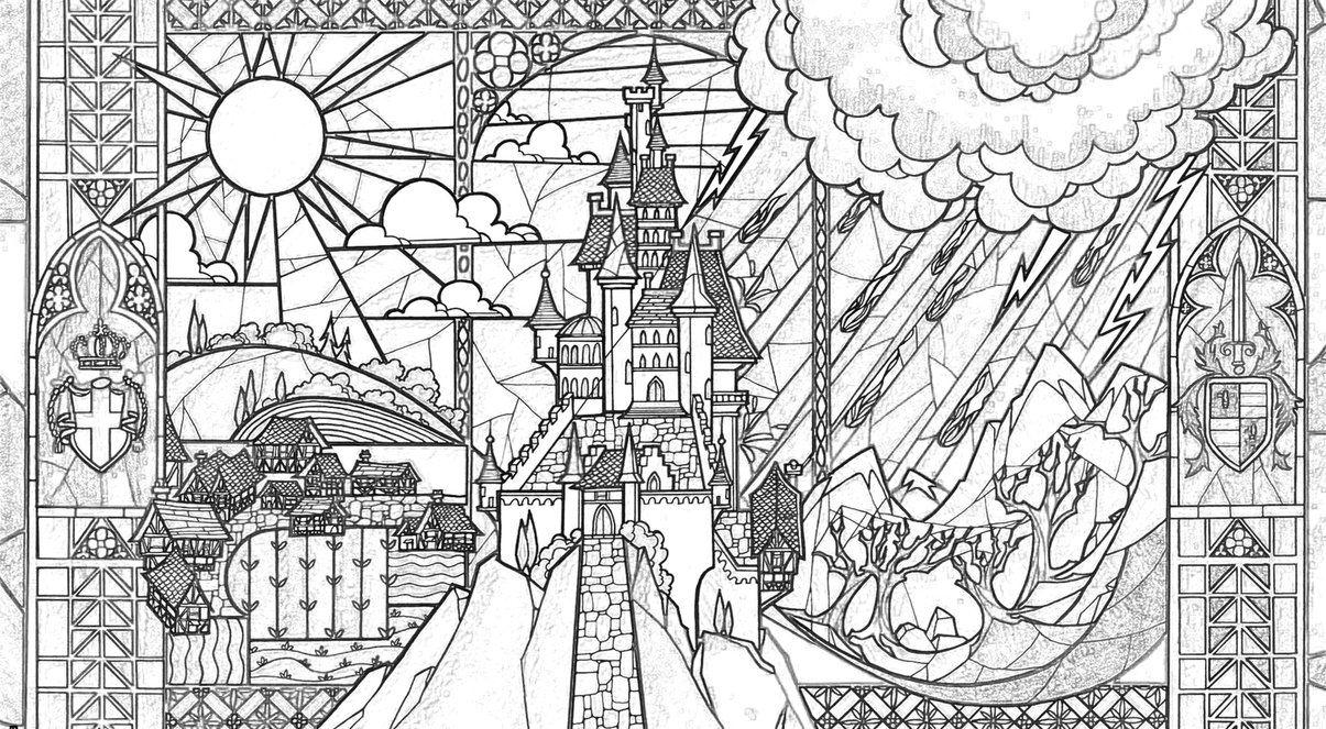 Beauty Beast Castle Coloring Page By Richard67915 Castle