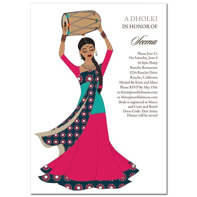 Indian Bridal Shower Invitation Dhol Girl dholki Pinterest