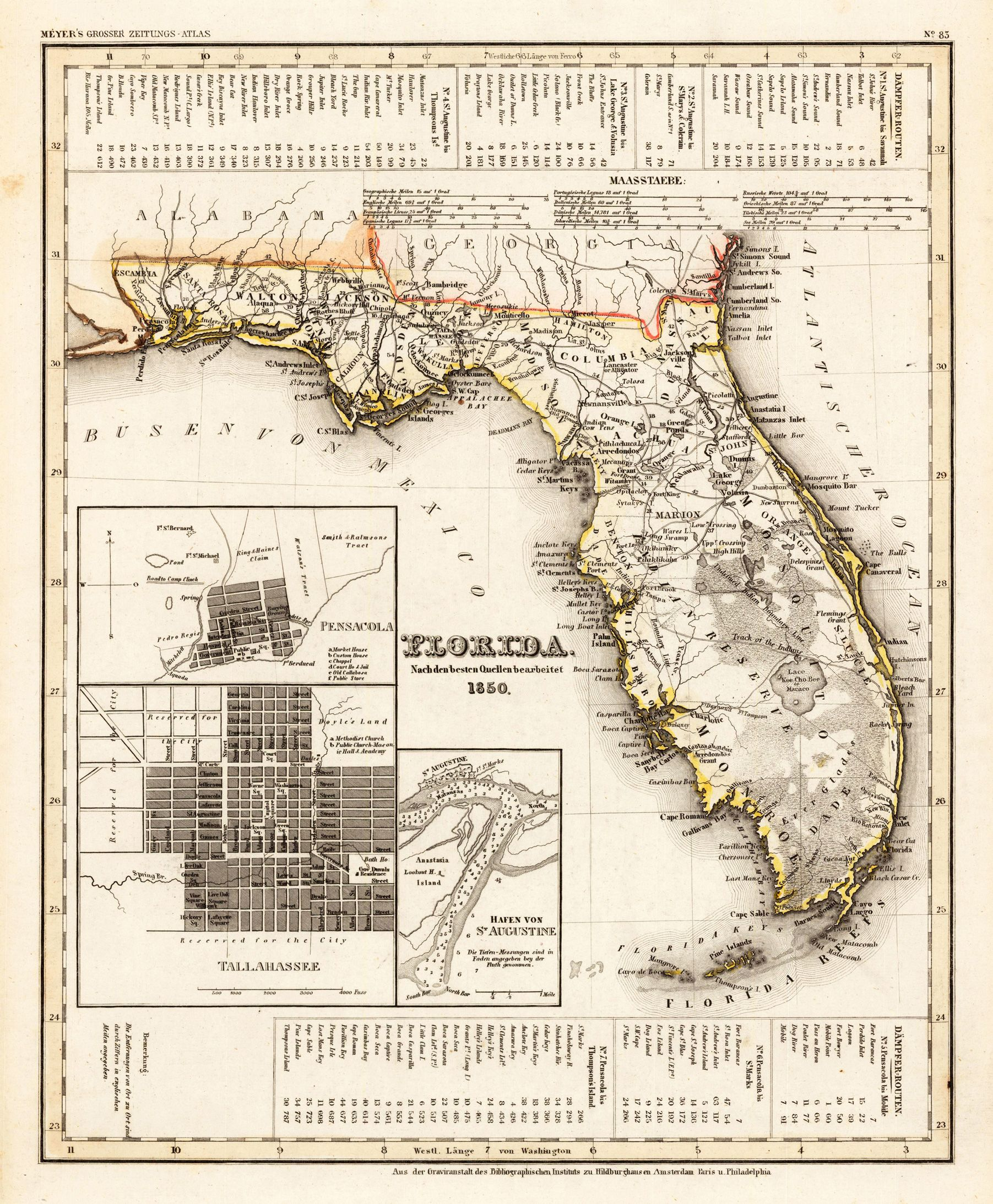 Florida Nach Den Besten Quellen Bearbeitet By Meyer Joseph - Florida map mount dora