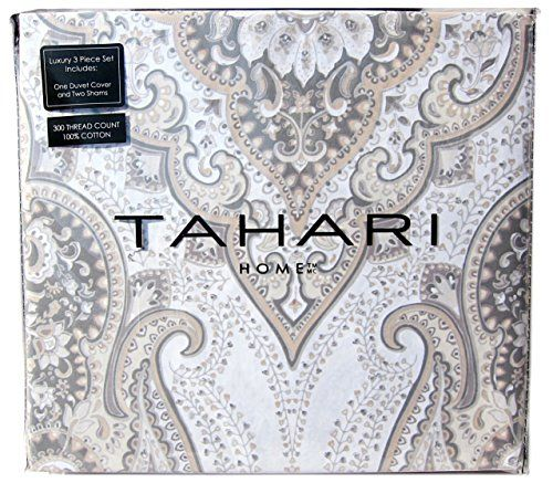 Tahari Home 3pc King Cal.King Duvet Cover Set Large Medallion Grey Ivory  Taupe Beige