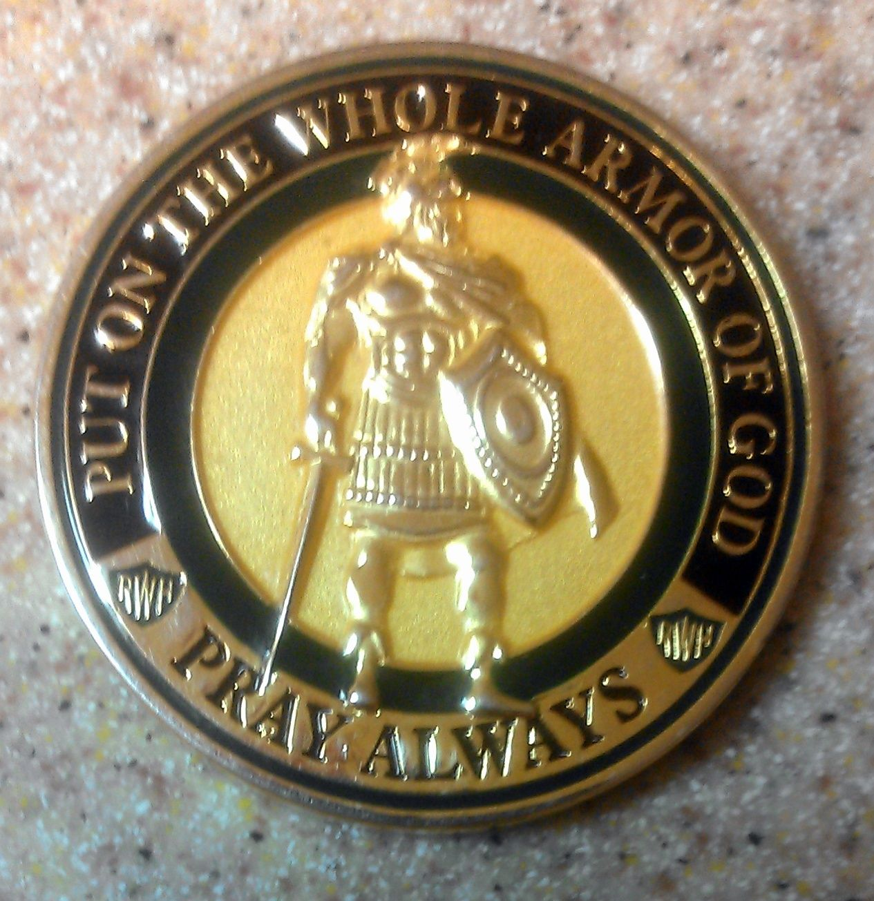 Front side of the Armor of God challenge coin | Religious Items ...