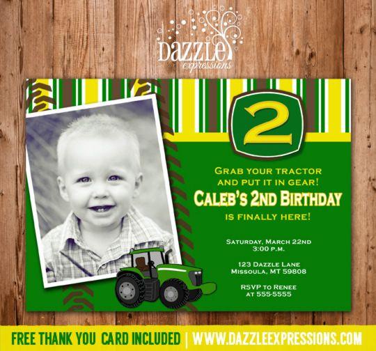 Printable Tractor Birthday Invitation Farm Birthday John Deere - John deere 2nd birthday party invitations