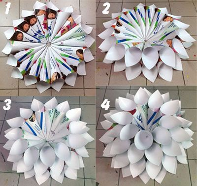 Paper flowers out of recycled paper you should see these with a paper flowers out of recycled paper you should see these with a coat of spray paint on them they are really pretty mightylinksfo