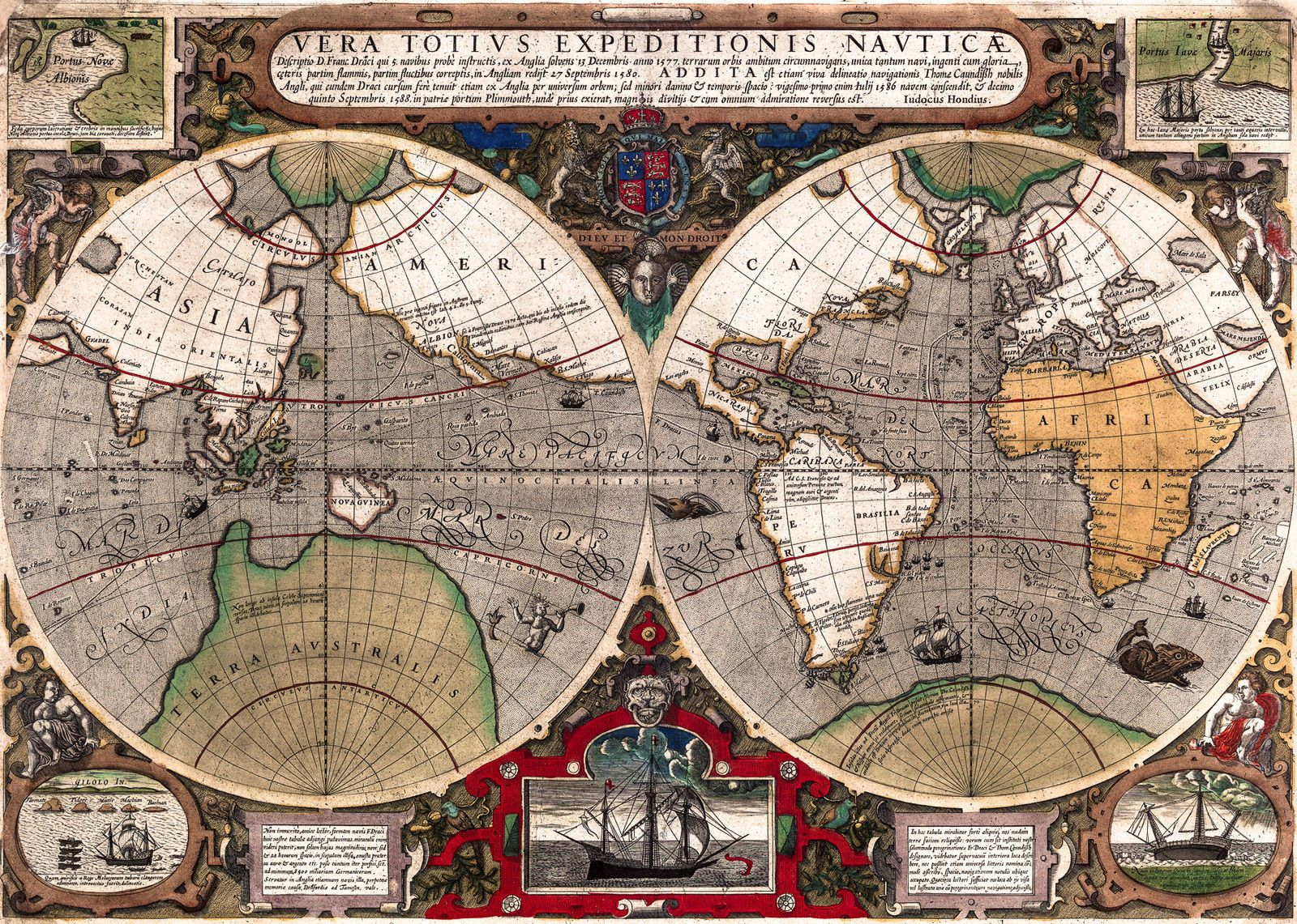 Antique world map old vintage map 1595 fade resistant hd art antique world map old vintage map 1595 fade resistant hd art print or gumiabroncs Images