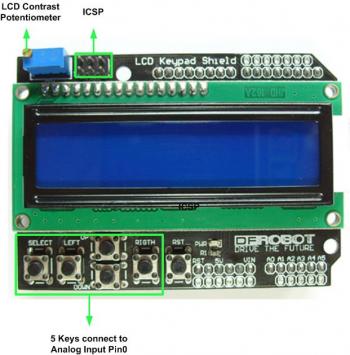 Arduino LCD KeyPad Shield (SKU: DFR0009) - DFRobot Electronic