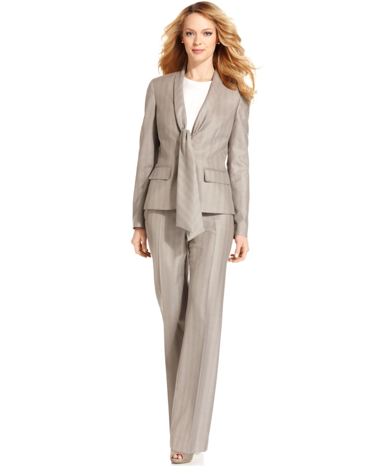 Anne Klein Suit, Shawl-Collar Tie-Neck Jacket & Wide-Leg Pants - Wear to  Work - Women - Macy's