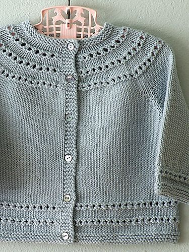 ff370e635 Eyelet Yoke Baby Cardigan by Carole Barenys - this and other free ...
