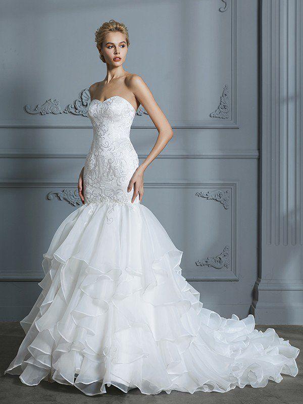 0f2cfc86a2f Trumpet Mermaid Sweetheart Sleeveless Ruffles Sweep Brush Train Organza  Wedding Dresses