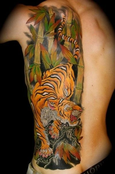 9127d3451 Vivid colors japanese tiger tattoo on ribs | tattoos | Japanese ...