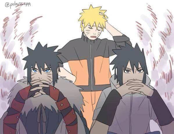 naruto, sasuke and menma  When father son match expressions