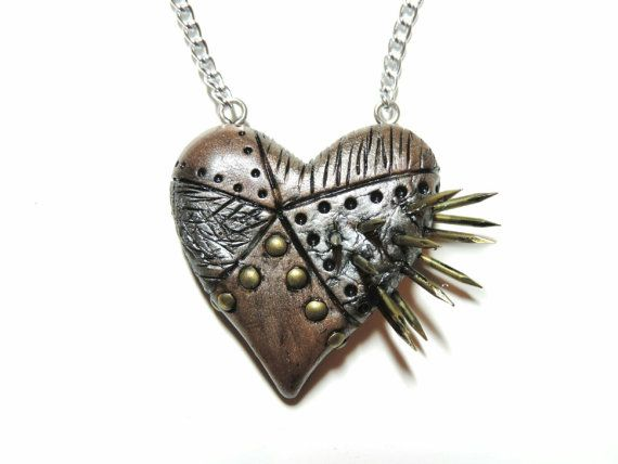 spiked industrial steampunk heart necklace by xDonnaxthexDeadx, $20.00