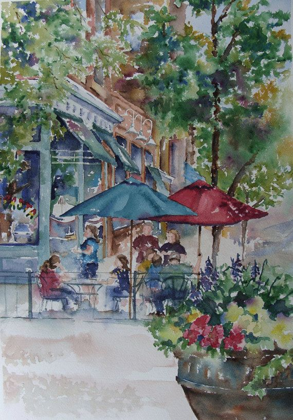 Outdoor Cafe Watercolor City Scene Original Painting 14 X 20