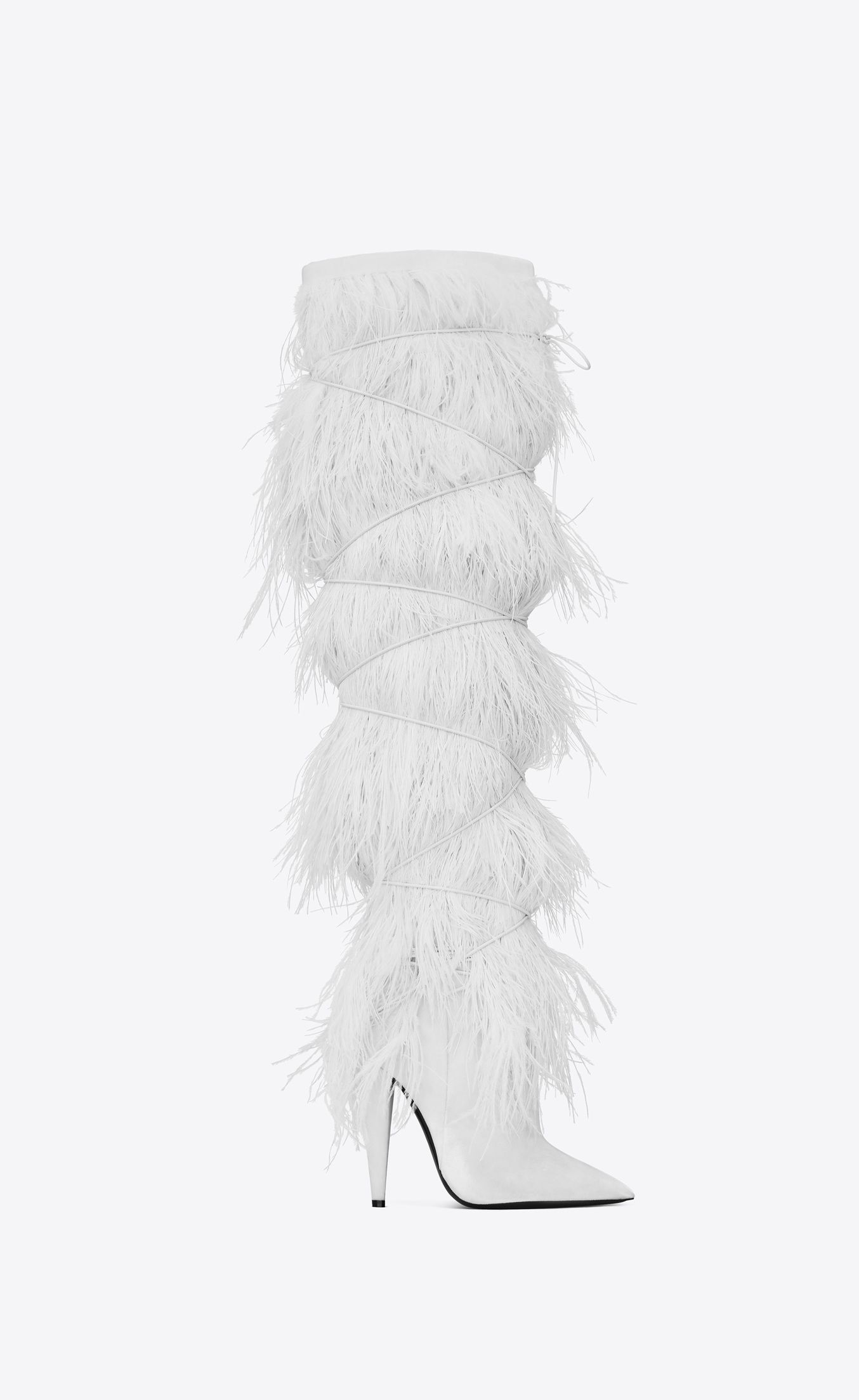 fbe42e0c236 Saint Laurent YETI 110 Boots With Ostrich Feathers In Black Velvet | YSL.com