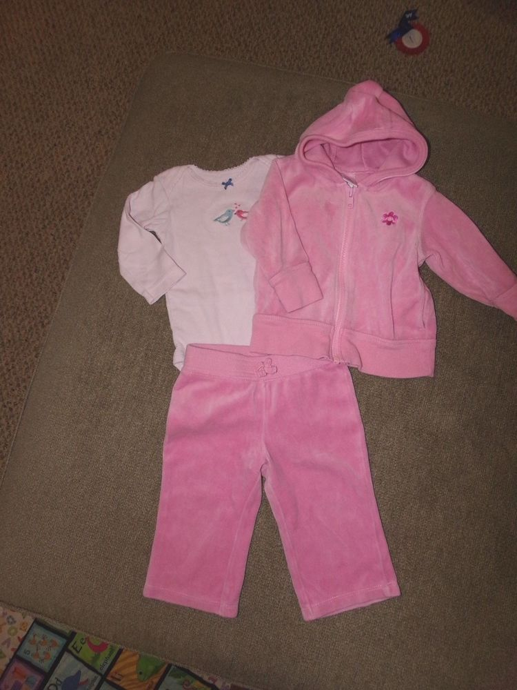 34b412e62 Old Navy Baby Girl Velour Track Suit Hooded Jacket Size 6 - 12 ...