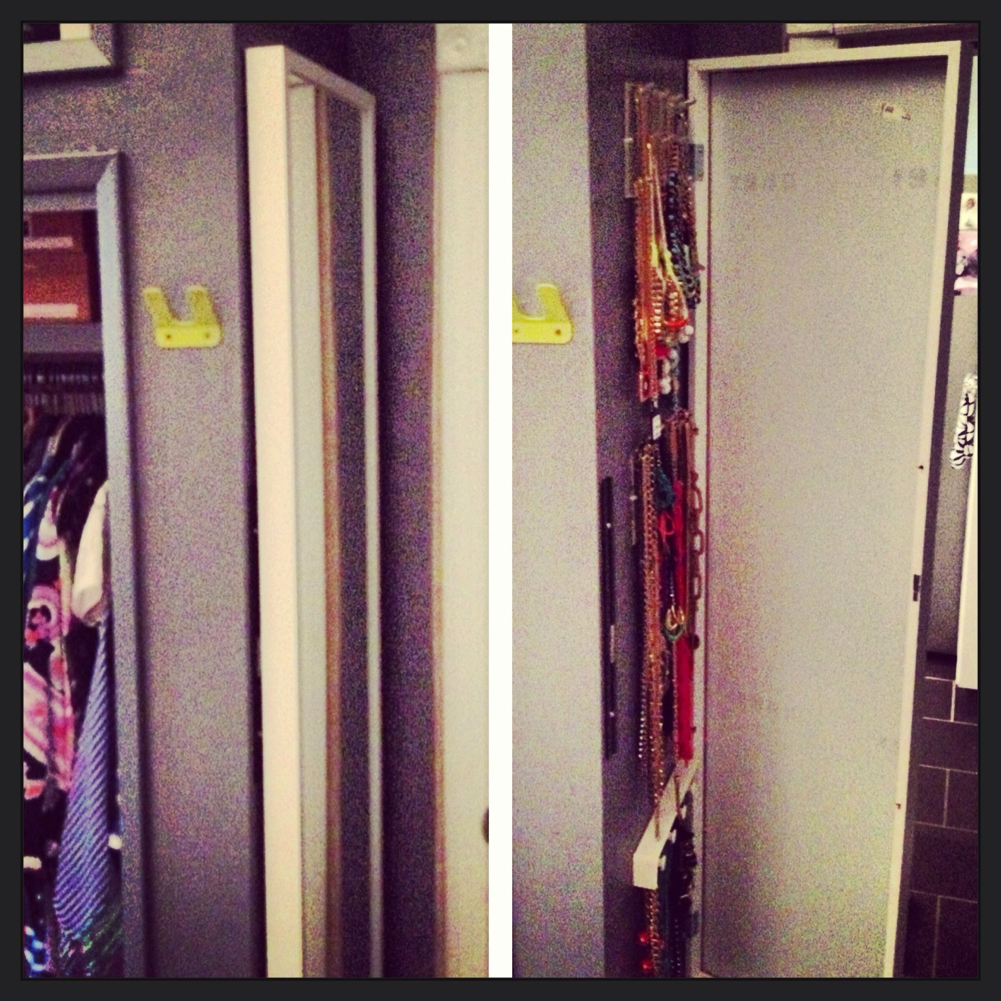 """DIY hidden jewelry wall/full length mirror - Mount your full length mirror on a frame made of 1"""" x 2"""" lumber; mount on hinges on one side and add magnets to other side with magnetic bar mounted on wall. For more depth, use 1"""" x 4"""" for frame..."""