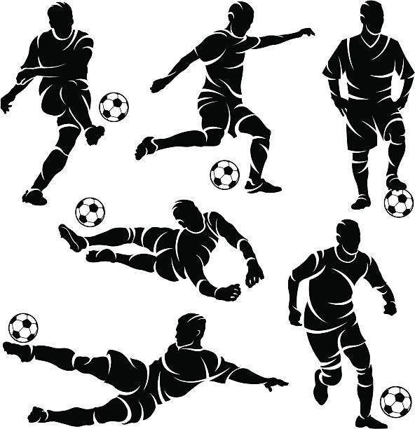 7562a679e Silhuetas de futebol jogadores de futebol - ilustração de arte em vetor